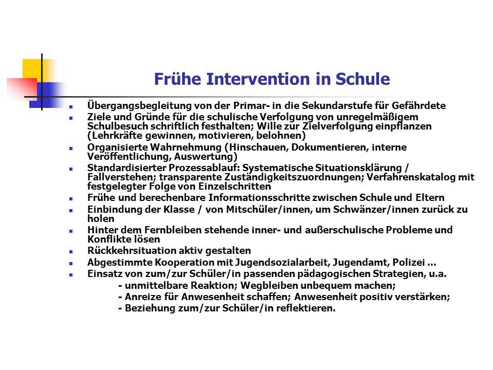 Frühe Intervention in Schule Übergangsbegleitung von der Primar- in die Sekundarstufe für Gefährdete Ziele und Gründe für die schulische Verfolgung vo