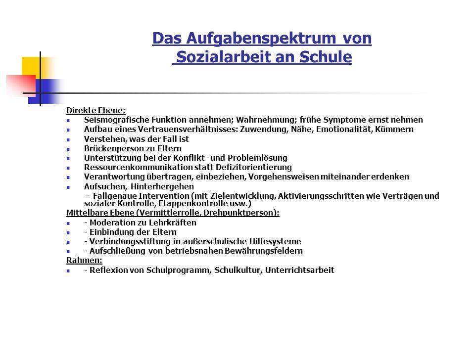 Das Aufgabenspektrum von Sozialarbeit an Schule Direkte Ebene: Seismografische Funktion annehmen; Wahrnehmung; frühe Symptome ernst nehmen Aufbau eine