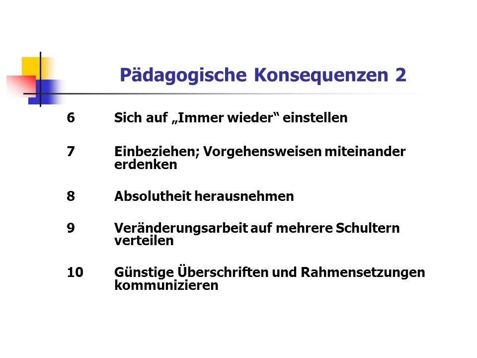 Pädagogische Konsequenzen 2 6Sich auf Immer wieder einstellen 7Einbeziehen; Vorgehensweisen miteinander erdenken 8Absolutheit herausnehmen 9Veränderun