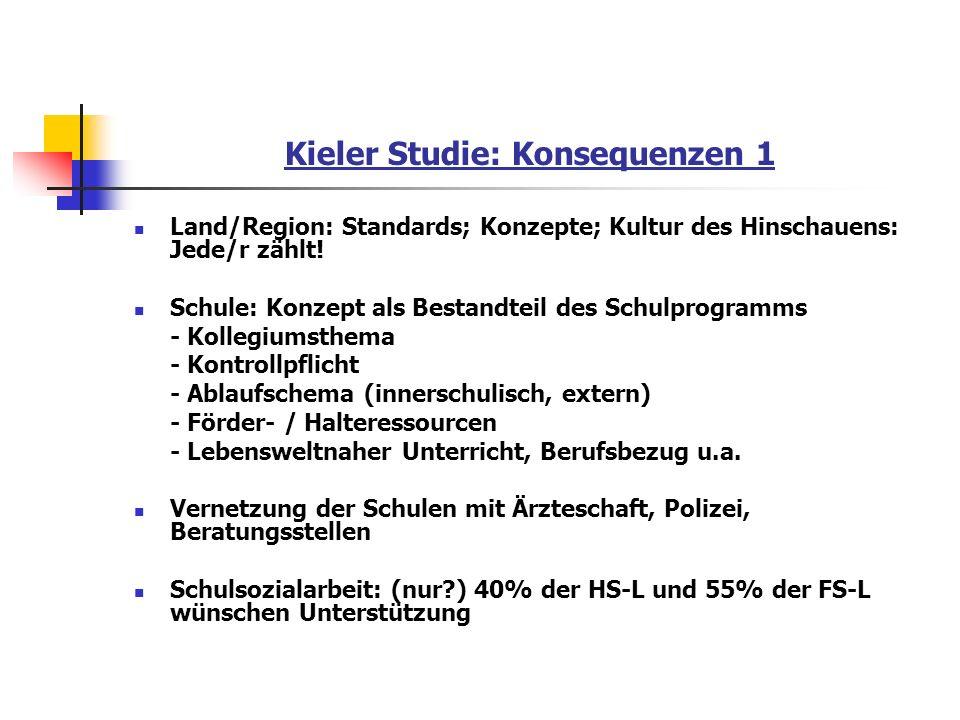 Kieler Studie: Konsequenzen 1 Land/Region: Standards; Konzepte; Kultur des Hinschauens: Jede/r zählt! Schule: Konzept als Bestandteil des Schulprogram