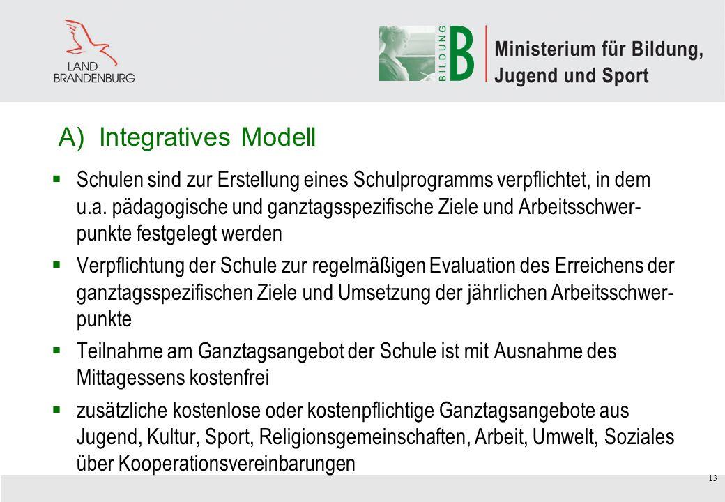 13 A) Integratives Modell Schulen sind zur Erstellung eines Schulprogramms verpflichtet, in dem u.a.