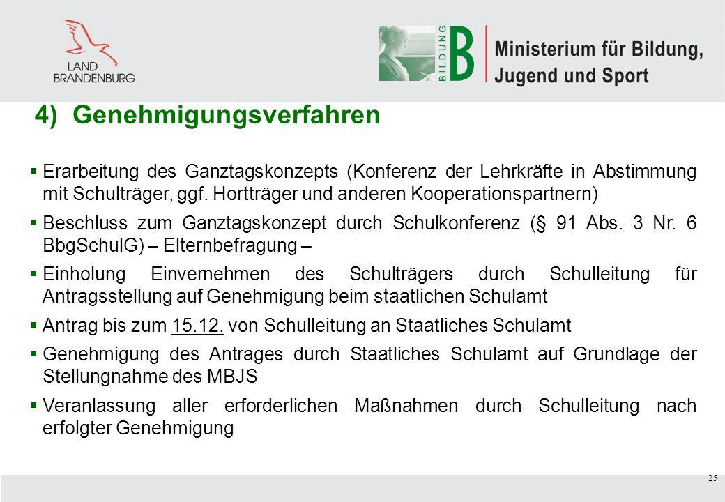25 Erarbeitung des Ganztagskonzepts (Konferenz der Lehrkräfte in Abstimmung mit Schulträger, ggf.