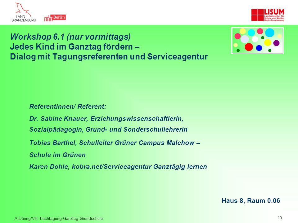 Workshop 6.1 (nur vormittags) Jedes Kind im Ganztag fördern – Dialog mit Tagungsreferenten und Serviceagentur Referentinnen/ Referent: Dr. Sabine Knau