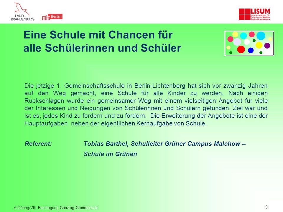 Eine Schule mit Chancen für alle Schülerinnen und Schüler Die jetzige 1. Gemeinschaftsschule in Berlin-Lichtenberg hat sich vor zwanzig Jahren auf den
