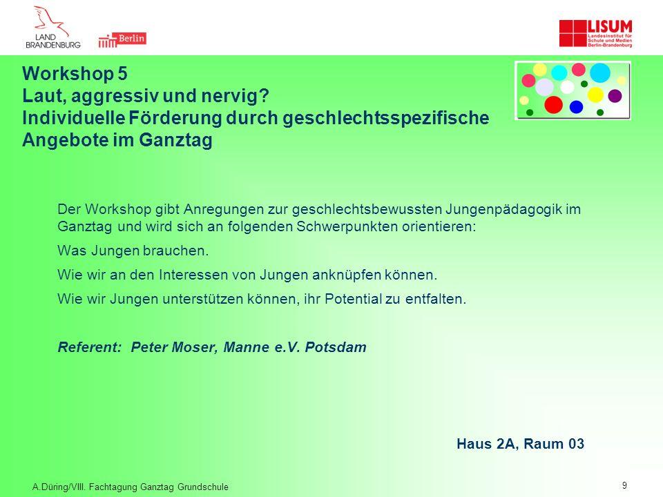 Workshop 6.1 (nur vormittags) Jedes Kind im Ganztag fördern – Dialog mit Tagungsreferenten und Serviceagentur Referentinnen/ Referent: Dr.