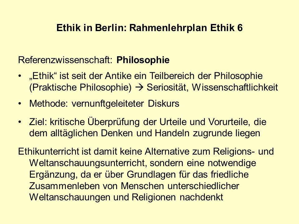 Referenzwissenschaft: Philosophie Ethik ist seit der Antike ein Teilbereich der Philosophie (Praktische Philosophie) Seriosität, Wissenschaftlichkeit