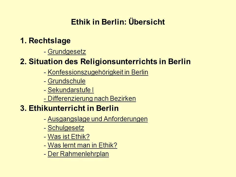 Ethik in Berlin: Übersicht 1. Rechtslage - GrundgesetzGrundgesetz 2. Situation des Religionsunterrichts in Berlin - Konfessionszugehörigkeit in Berlin