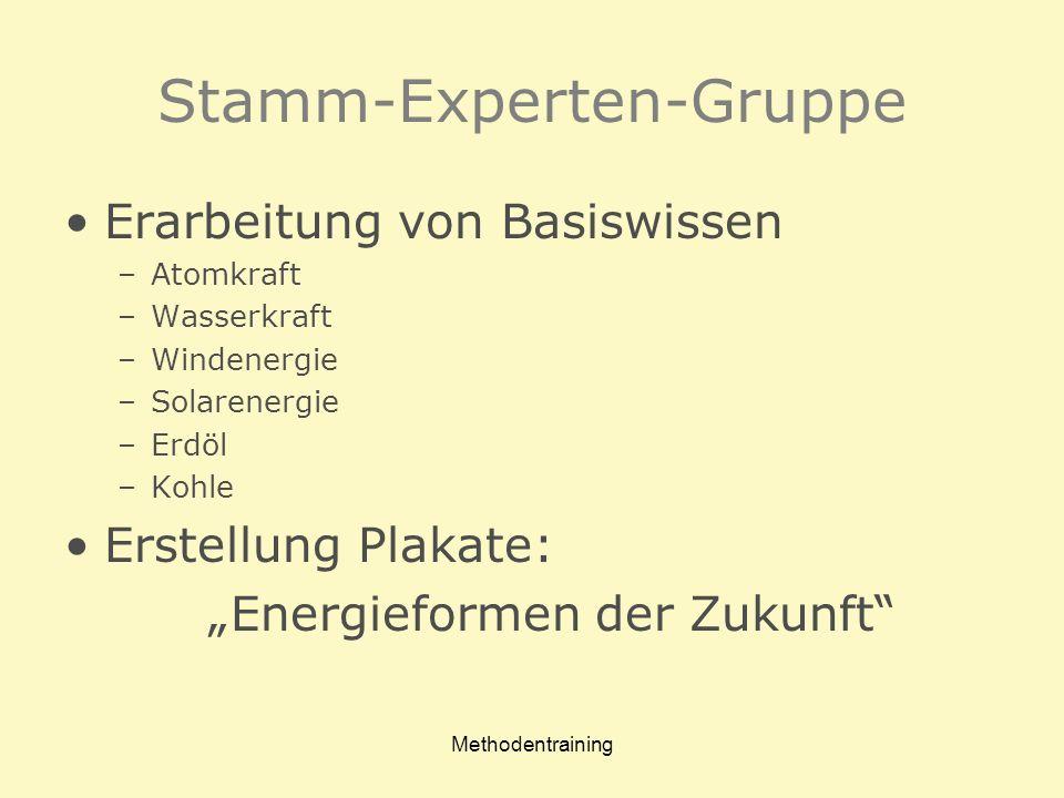 Stamm-Experten-Gruppe Erarbeitung von Basiswissen –Atomkraft –Wasserkraft –Windenergie –Solarenergie –Erdöl –Kohle Erstellung Plakate: Energieformen d
