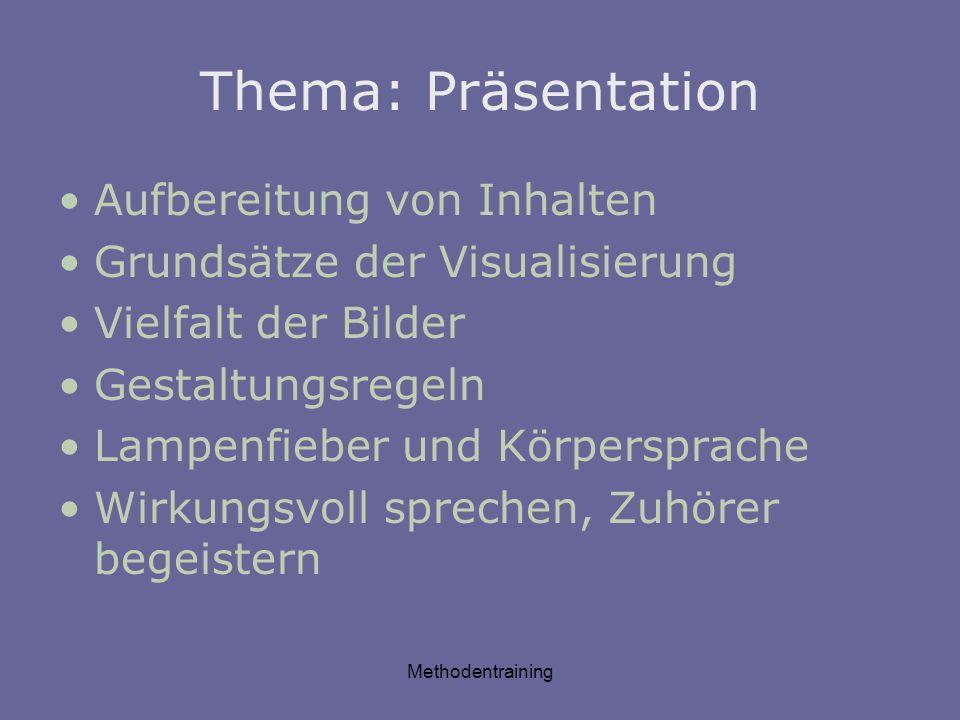 Methodentraining Thema: Präsentation Aufbereitung von Inhalten Grundsätze der Visualisierung Vielfalt der Bilder Gestaltungsregeln Lampenfieber und Kö