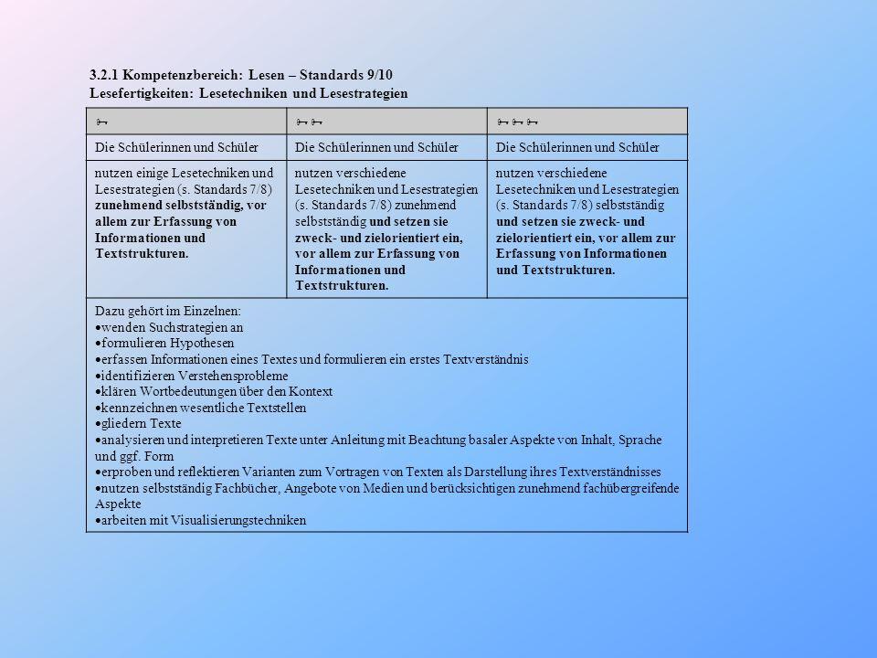 3.2.1 Kompetenzbereich: Lesen – Standards 9/10 Lesefertigkeiten: Lesetechniken und Lesestrategien Die Schülerinnen und Schüler nutzen einige Lesetechn