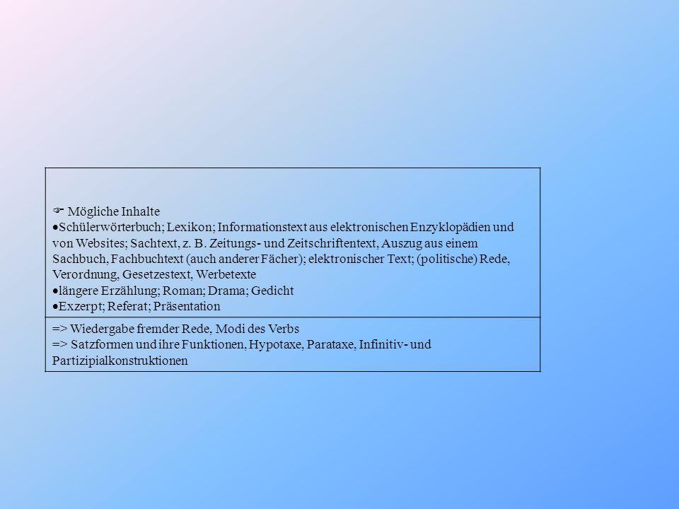 Mögliche Inhalte Schülerwörterbuch; Lexikon; Informationstext aus elektronischen Enzyklopädien und von Websites; Sachtext, z. B. Zeitungs- und Zeitsch