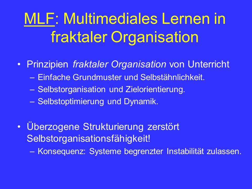 MLF: Multimediales Lernen in fraktaler Organisation Prinzipien fraktaler Organisation von Unterricht –Einfache Grundmuster und Selbstähnlichkeit. –Sel