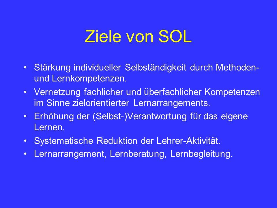 Ziele von SOL Stärkung individueller Selbständigkeit durch Methoden- und Lernkompetenzen. Vernetzung fachlicher und überfachlicher Kompetenzen im Sinn