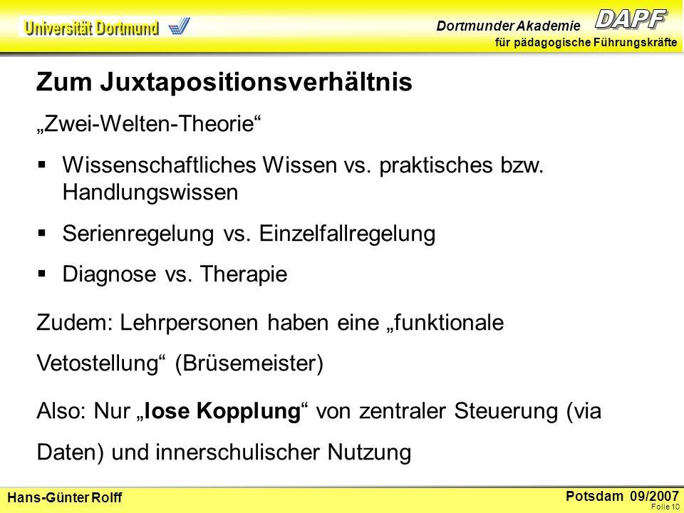 Potsdam 09/2007 Dortmunder Akademie für pädagogische Führungskräfte Hans-Günter Rolff Folie 11 Es handelt sich nicht um Unvereinbarkeit, aber um komplexe Übersetzungsprozesse, die über technische Lösungen oder Patentrezepte (z.B.