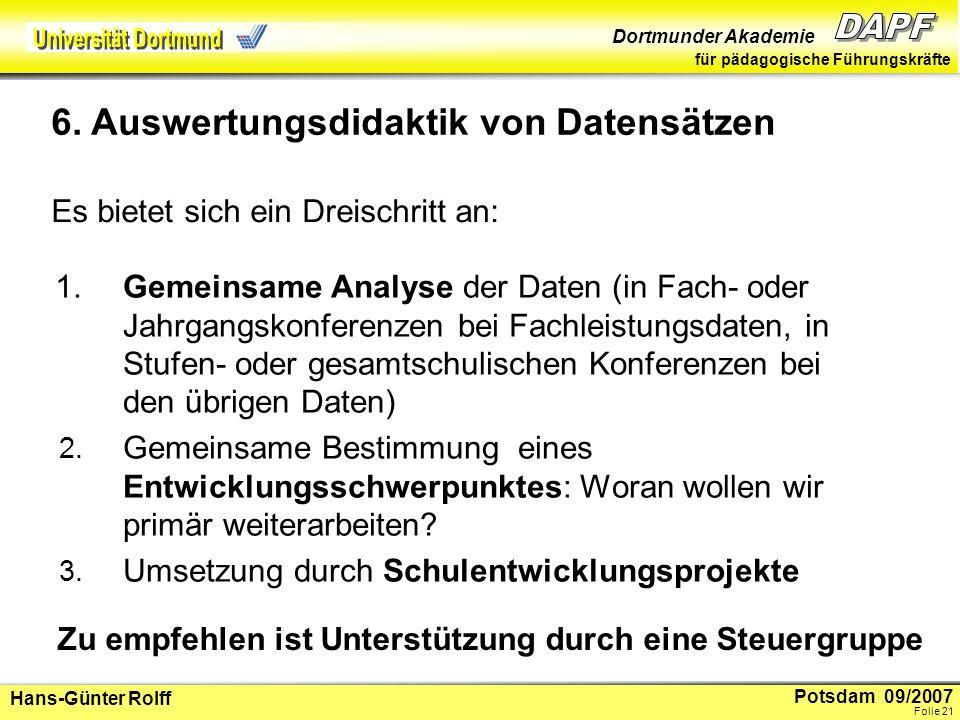 Potsdam 09/2007 Dortmunder Akademie für pädagogische Führungskräfte Hans-Günter Rolff Folie 22 Hinweise zur Reduzierung großer Datenmengen Was überrascht.