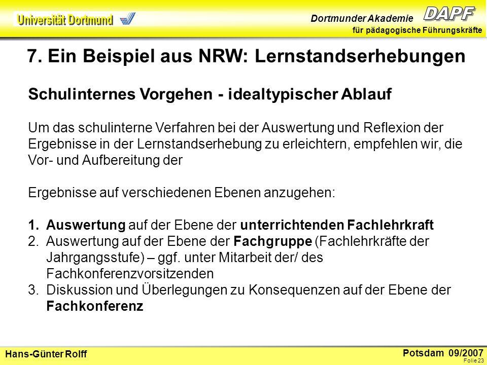 Potsdam 09/2007 Dortmunder Akademie für pädagogische Führungskräfte Hans-Günter Rolff Folie 24 Die vorgeschlagenen Beratungsebenen (2) und (3) können auch zusammengelegt werden.