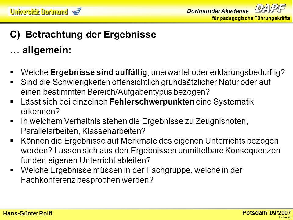 Potsdam 09/2007 Dortmunder Akademie für pädagogische Führungskräfte Hans-Günter Rolff Folie 27...