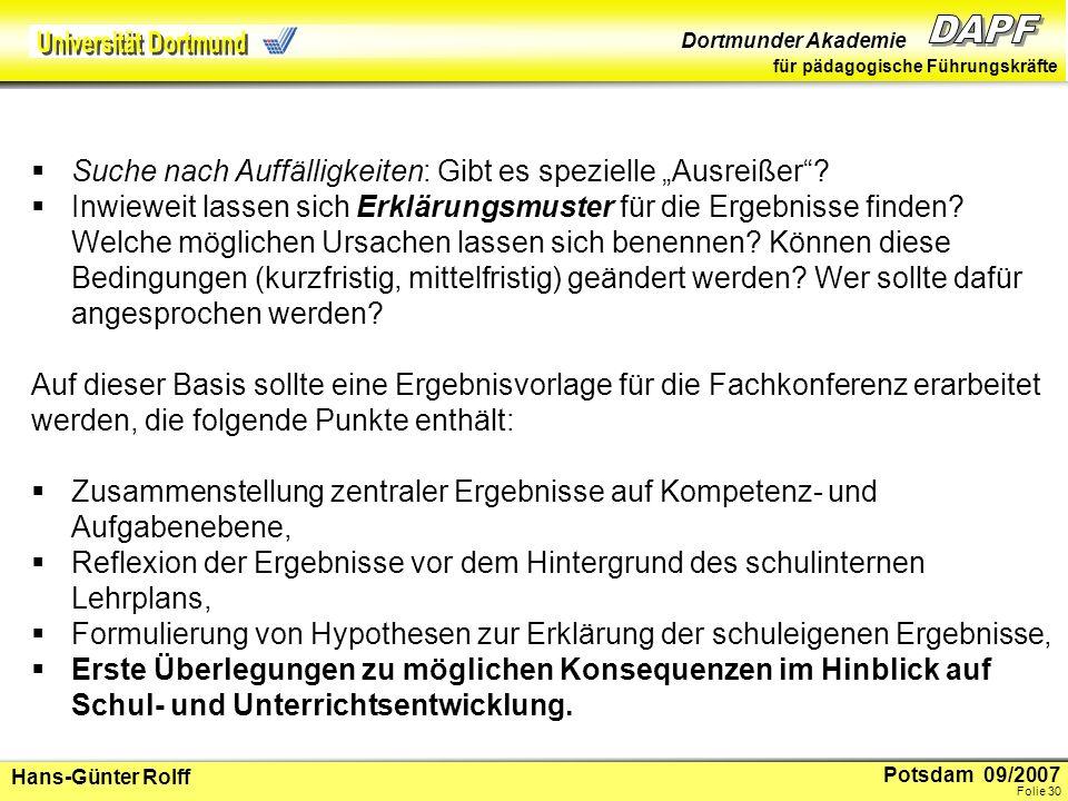 Potsdam 09/2007 Dortmunder Akademie für pädagogische Führungskräfte Hans-Günter Rolff Folie 31 3.