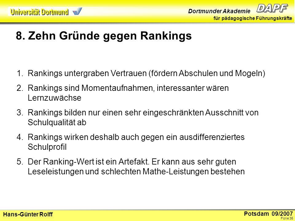 Potsdam 09/2007 Dortmunder Akademie für pädagogische Führungskräfte Hans-Günter Rolff Folie 36 6.Rankings stoßen bei der Lehrerschaft auf Abwehr-Routinen 7.Rankings vergrößern die Ungleichheit (Prangereffekte) 8.Rankings lenken von Wichtigerem ab.