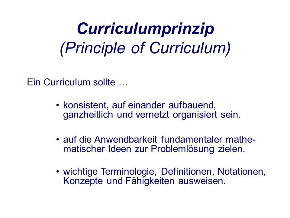 Curriculumprinzip (Principle of Curriculum) Ein Curriculum sollte … konsistent, auf einander aufbauend, ganzheitlich und vernetzt organisiert sein.