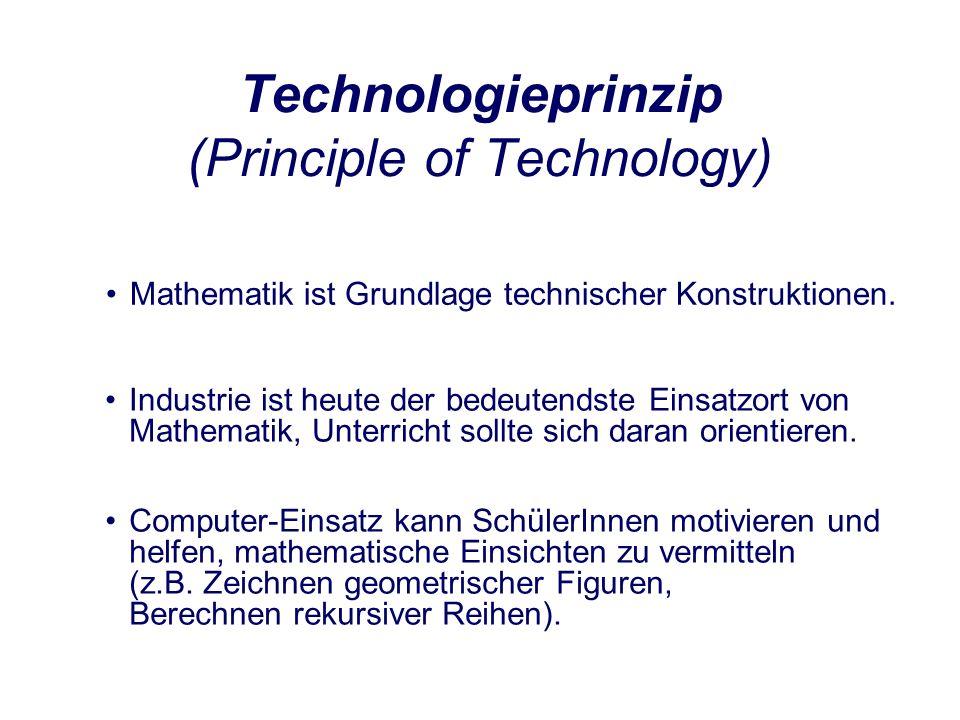 Technologieprinzip (Principle of Technology) Mathematik ist Grundlage technischer Konstruktionen.