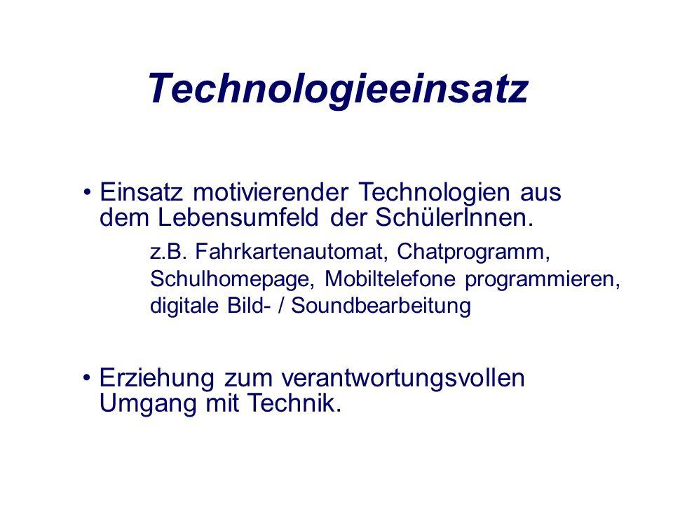 Technologieeinsatz Einsatz motivierender Technologien aus dem Lebensumfeld der SchülerInnen.