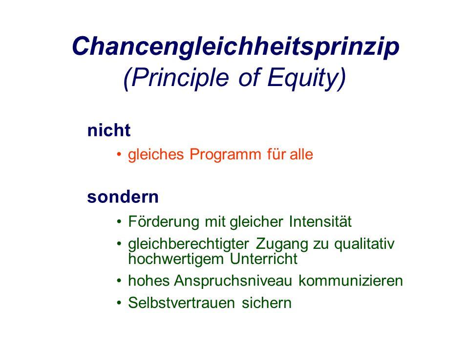 Chancengleichheitsprinzip (Principle of Equity) nicht sondern gleichberechtigter Zugang zu qualitativ hochwertigem Unterricht Förderung mit gleicher Intensität hohes Anspruchsniveau kommunizieren Selbstvertrauen sichern gleiches Programm für alle