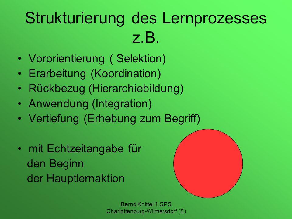 Bernd Knittel 1.SPS Charlottenburg-Wilmersdorf (S) Strukturierung des Lernprozesses z.B. Vororientierung ( Selektion) Erarbeitung (Koordination) Rückb