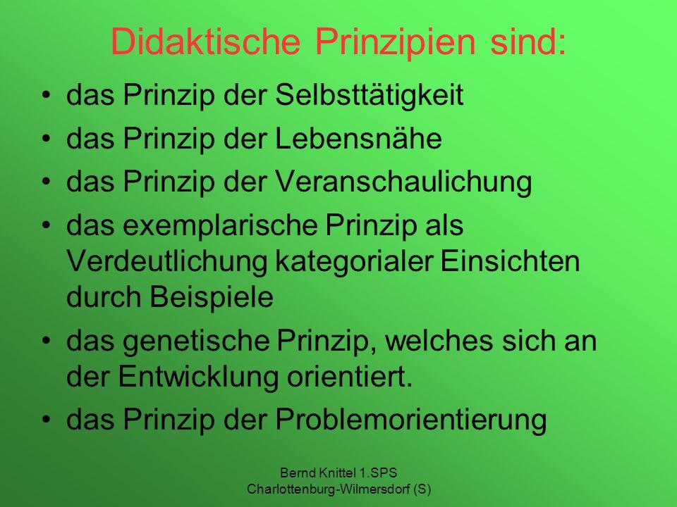 Didaktische Prinzipien sind: das Prinzip der Selbsttätigkeit das Prinzip der Lebensnähe das Prinzip der Veranschaulichung das exemplarische Prinzip al