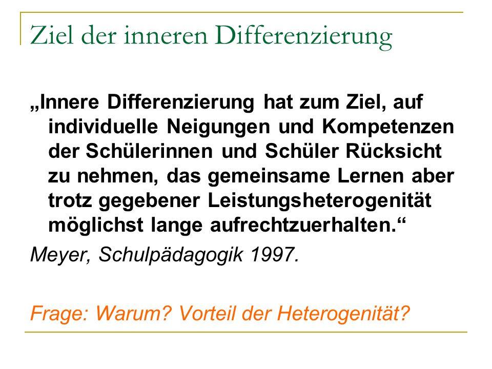 Ziel der inneren Differenzierung Innere Differenzierung hat zum Ziel, auf individuelle Neigungen und Kompetenzen der Schülerinnen und Schüler Rücksich