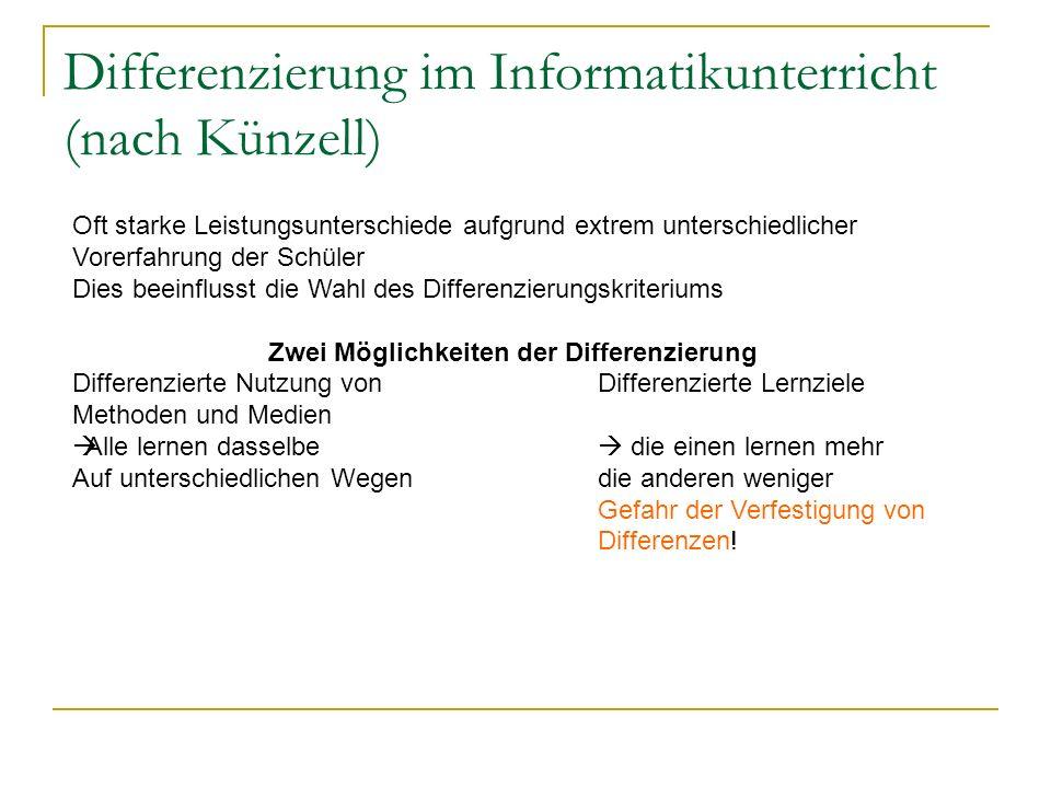 Differenzierung im Informatikunterricht (nach Künzell) Oft starke Leistungsunterschiede aufgrund extrem unterschiedlicher Vorerfahrung der Schüler Die