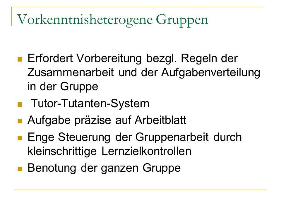 Vorkenntnisheterogene Gruppen Erfordert Vorbereitung bezgl. Regeln der Zusammenarbeit und der Aufgabenverteilung in der Gruppe Tutor-Tutanten-System A