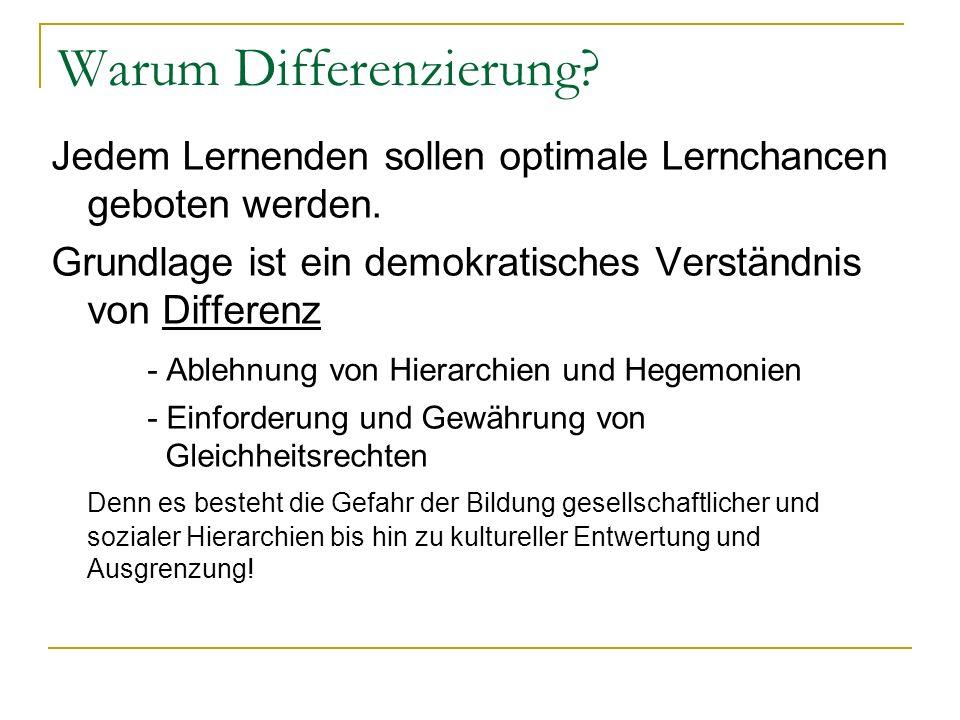 Warum Differenzierung? Jedem Lernenden sollen optimale Lernchancen geboten werden. Grundlage ist ein demokratisches Verständnis von Differenz - Ablehn