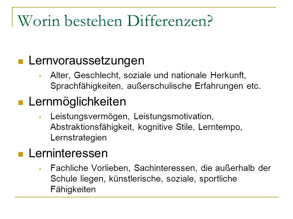 Worin bestehen Differenzen? Lernvoraussetzungen Alter, Geschlecht, soziale und nationale Herkunft, Sprachfähigkeiten, außerschulische Erfahrungen etc.