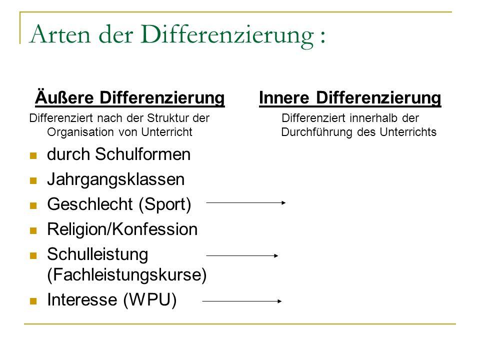 Arten der Differenzierung : Äußere Differenzierung Differenziert nach der Struktur der Organisation von Unterricht durch Schulformen Jahrgangsklassen