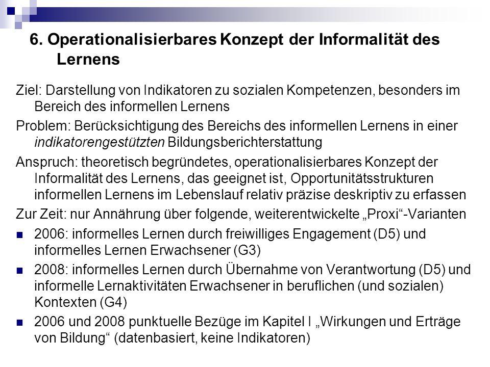 6. Operationalisierbares Konzept der Informalität des Lernens Ziel: Darstellung von Indikatoren zu sozialen Kompetenzen, besonders im Bereich des info