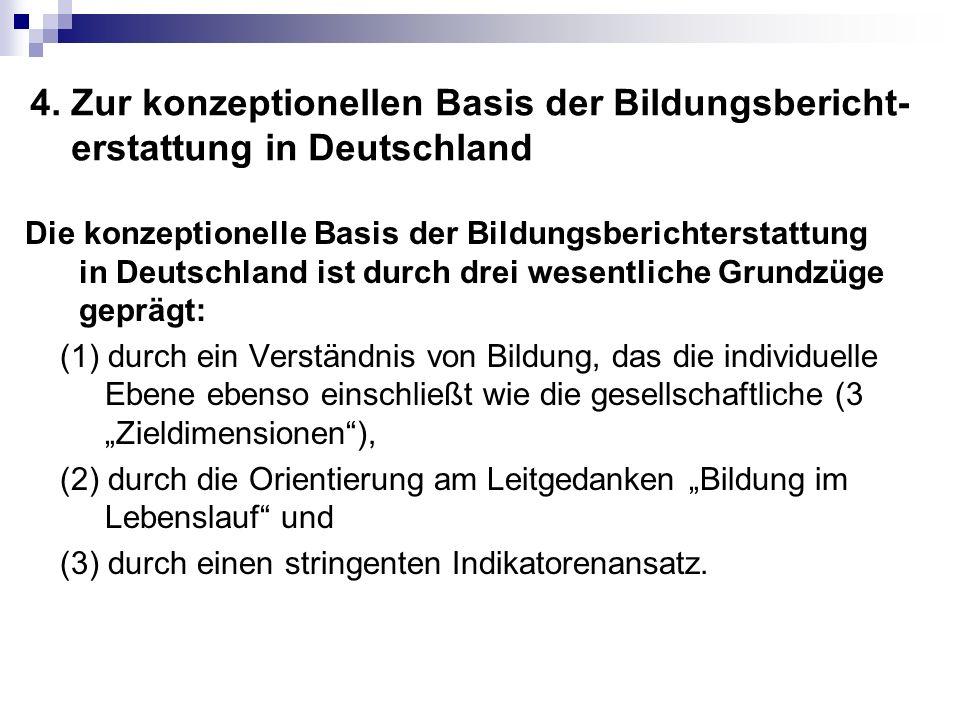 4. Zur konzeptionellen Basis der Bildungsbericht- erstattung in Deutschland Die konzeptionelle Basis der Bildungsberichterstattung in Deutschland ist