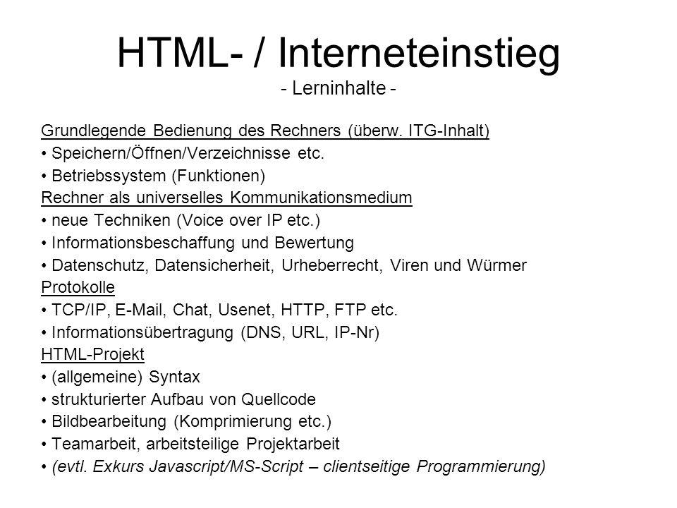 HTML- / Interneteinstieg - Lerninhalte - Grundlegende Bedienung des Rechners (überw. ITG-Inhalt) Speichern/Öffnen/Verzeichnisse etc. Betriebssystem (F