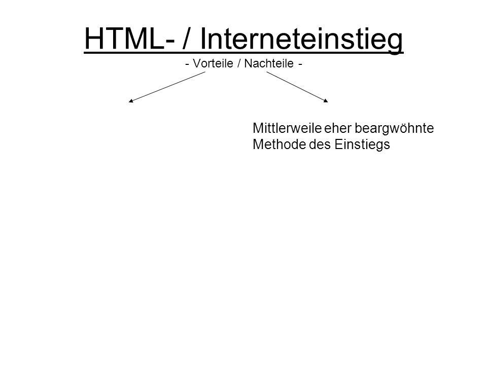 HTML- / Interneteinstieg - Vorteile / Nachteile - Mittlerweile eher beargwöhnte Methode des Einstiegs