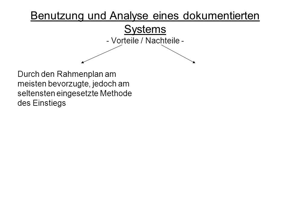Benutzung und Analyse eines dokumentierten Systems - Vorteile / Nachteile - Durch den Rahmenplan am meisten bevorzugte, jedoch am seltensten eingesetzte Methode des Einstiegs