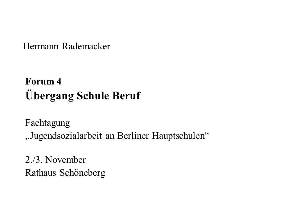 Hermann Rademacker Forum 4 Übergang Schule Beruf Fachtagung Jugendsozialarbeit an Berliner Hauptschulen 2./3. November Rathaus Schöneberg