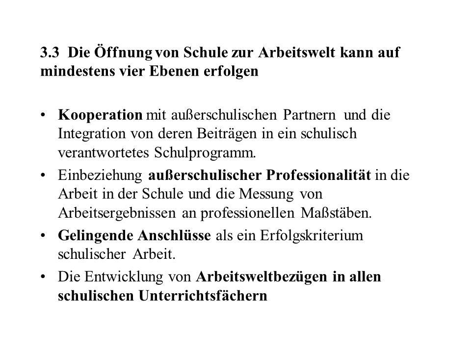 3.3 Die Öffnung von Schule zur Arbeitswelt kann auf mindestens vier Ebenen erfolgen Kooperation mit außerschulischen Partnern und die Integration von