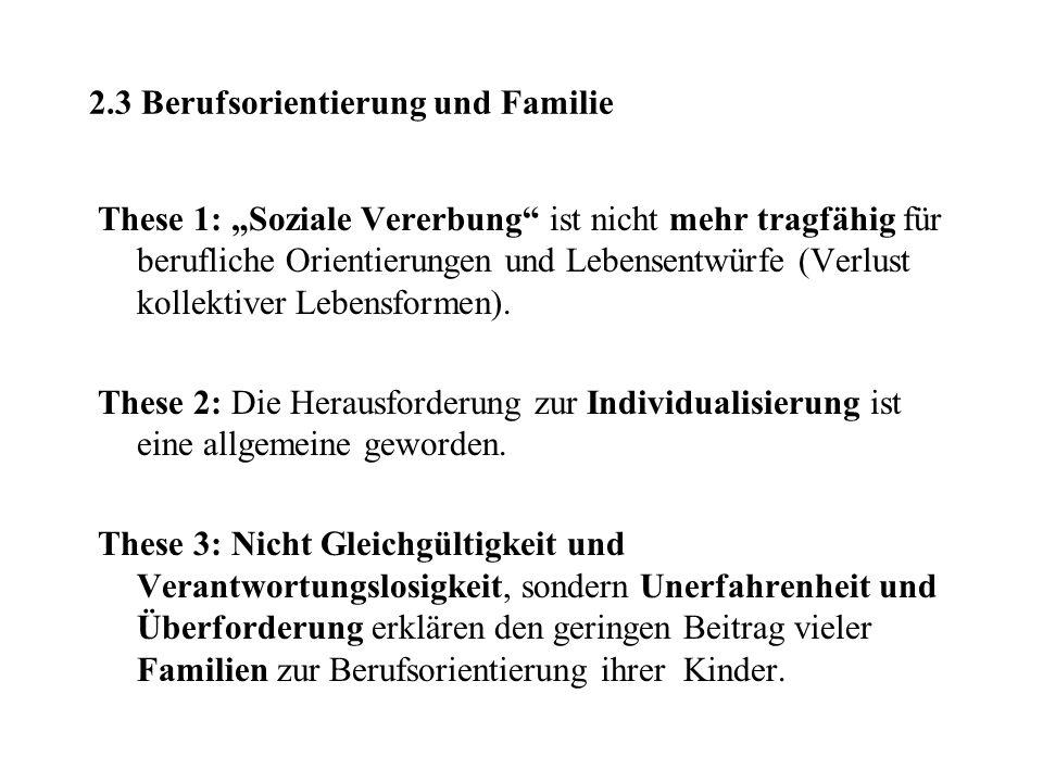 2.3 Berufsorientierung und Familie These 1: Soziale Vererbung ist nicht mehr tragfähig für berufliche Orientierungen und Lebensentwürfe (Verlust kolle
