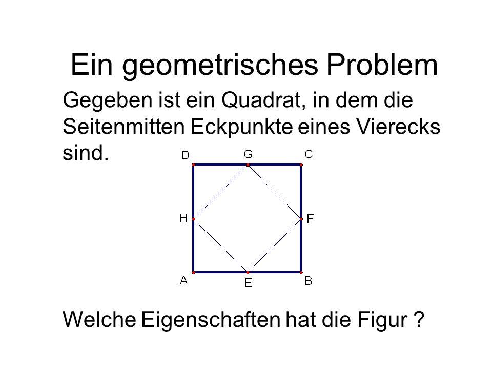Gegeben ist ein Quadrat, in dem die Seitenmitten Eckpunkte eines Vierecks sind. Welche Eigenschaften hat die Figur ? Ein geometrisches Problem