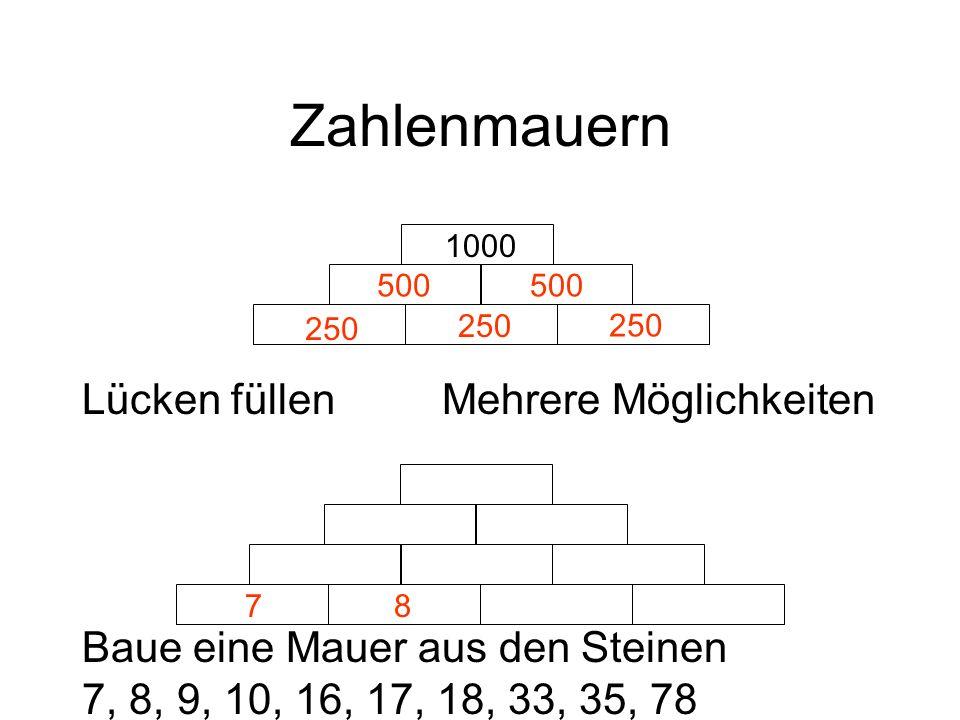Zahlenmauern 1000 Lücken füllenMehrere Möglichkeiten Baue eine Mauer aus den Steinen 7, 8, 9, 10, 16, 17, 18, 33, 35, 78 500 250 78