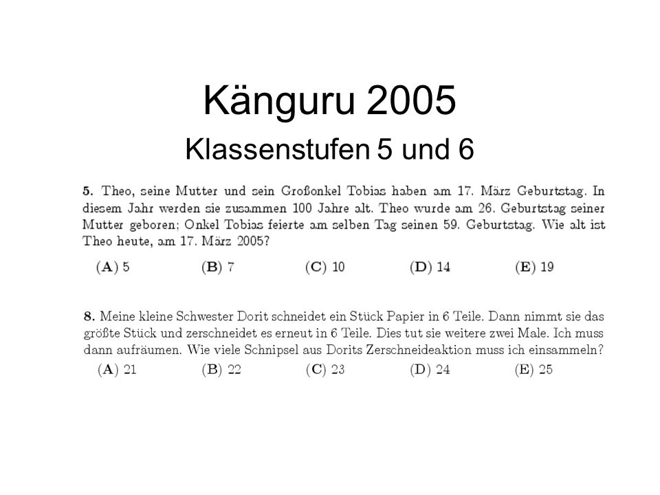 Känguru 2005 Klassenstufen 5 und 6