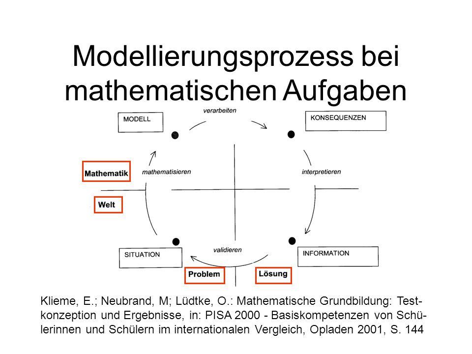 Modellierungsprozess bei mathematischen Aufgaben Klieme, E.; Neubrand, M; Lüdtke, O.: Mathematische Grundbildung: Test- konzeption und Ergebnisse, in: