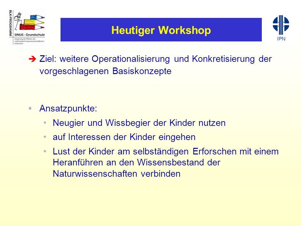 Heutiger Workshop Ziel: weitere Operationalisierung und Konkretisierung der vorgeschlagenen Basiskonzepte Ansatzpunkte: Neugier und Wissbegier der Kin