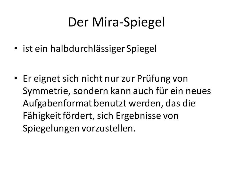 Der Mira-Spiegel ist ein halbdurchlässiger Spiegel Er eignet sich nicht nur zur Prüfung von Symmetrie, sondern kann auch für ein neues Aufgabenformat