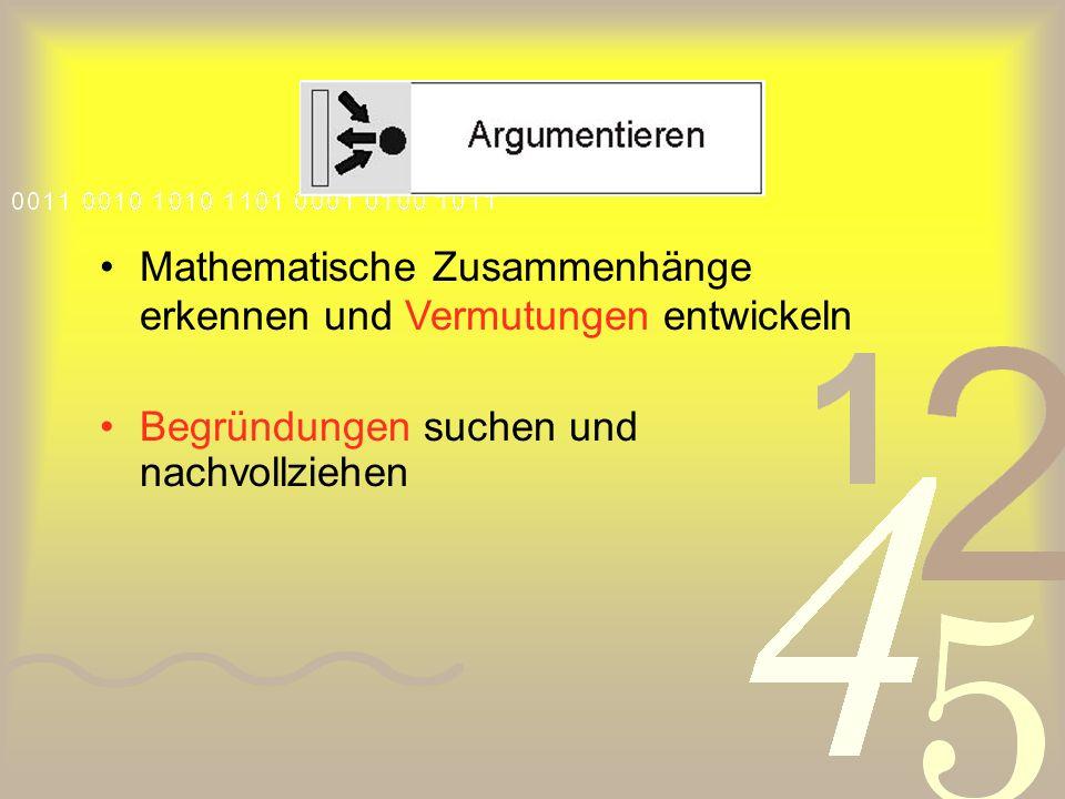 Mathematische Zusammenhänge erkennen und Vermutungen entwickeln Begründungen suchen und nachvollziehen